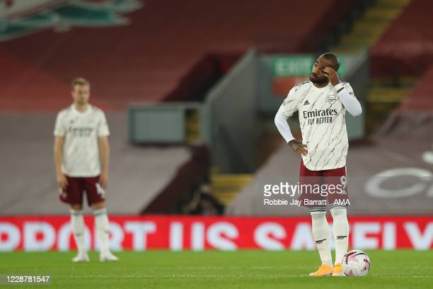 A dejected Alexandre Lacazette of Arsenal during the Premier League match between Liverpool and Arsenal at Anfield on September 28 2020 in Liverpool...