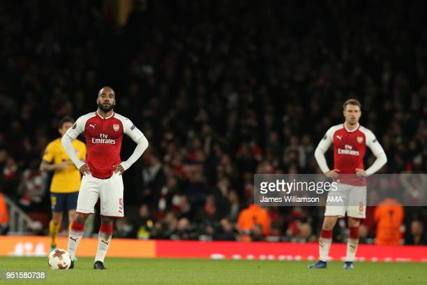 A dejected Alexandre Lacazette of Arsenal during the UEFA Europa League Semi Final leg one match between Arsenal FC and Atletico Madrid at Emirates...