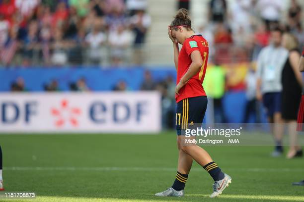 A dejected Alexia Putellas of Spain during the 2019 FIFA Women's World Cup France Round Of 16 match between Spain and USA at Stade Auguste Delaune on...