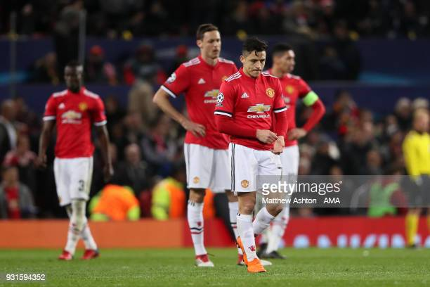 A dejected Alexis Sanchez of Manchester United after the second goal during the UEFA Champions League Round of 16 Second Leg match between Manchester...