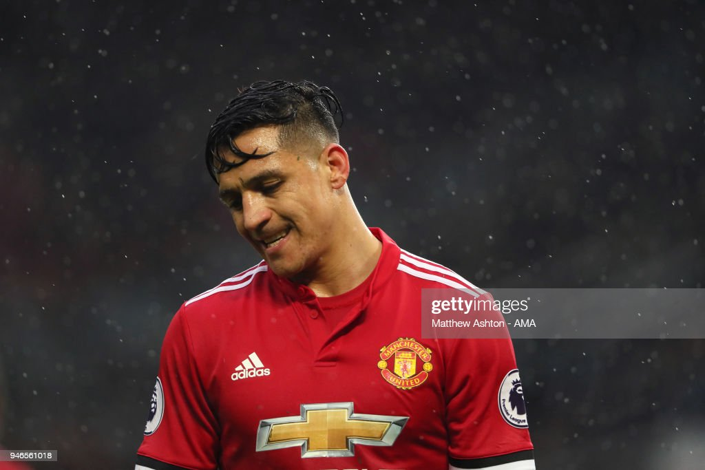 A Dejected Alexis Sanchez of Manchester United during the Premier League match between Manchester United and West Bromwich Albion at Old Trafford on April 15, 2018 in Manchester, England.