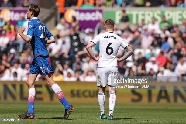 A dejected Alfie Mawson of Swansea City after Peter Crouch of Stoke City scores a goal to make it 12 during the Premier League match between Swansea...