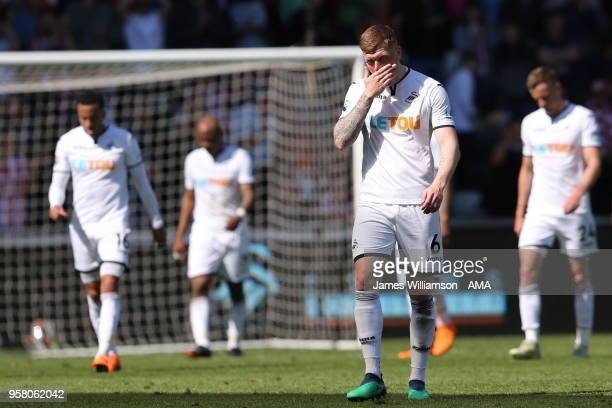 A dejected Alfie Mawson of Swansea City during the Premier League match between Swansea City and Stoke City at Liberty Stadium on May 13 2018 in...