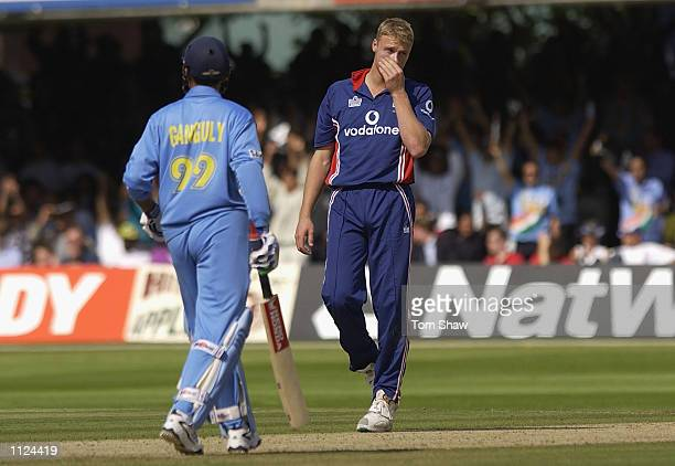 A dejected Andrew Flintoff of England after Sourav Ganguly of India hits another boundery during the match between England and India in the NatWest...