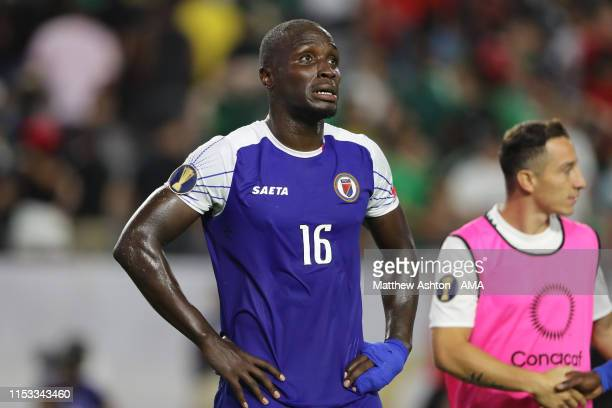 A dejected Andrew Jean Baptiste of Haiti during the 2019 CONCACAF Gold Cup Semi Final between Haiti and Mexico at State Farm Stadium on July 2 2019...