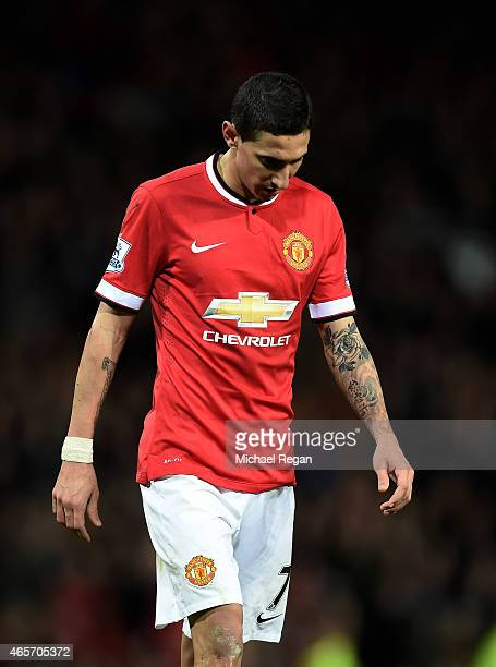 A dejected Angel di Maria of Manchester United walks off the pitch after receiving the red card from referee Michael Oliver during the FA Cup Quarter...