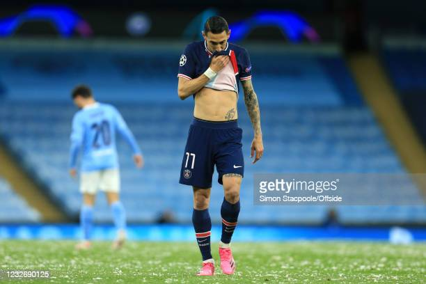 Dejected Angel Di Maria of PSG reacts during the UEFA Champions League Semi Final Second Leg match between Manchester City and Paris Saint-Germain at...