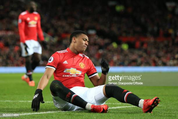 A dejected Anthony Martial of Manchester United during the Premier League match between Manchester United and Stoke City at Old Trafford on January...