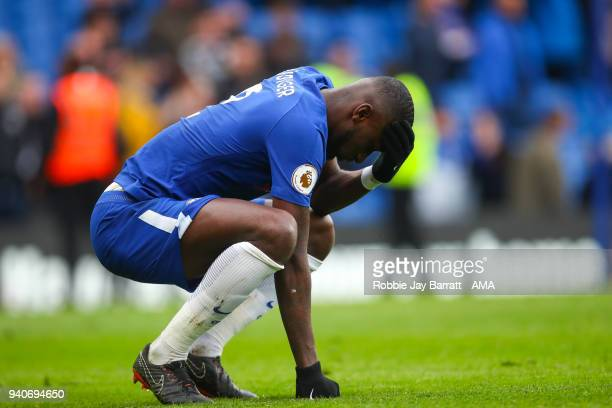 A dejected Antonio Rudiger of Chelsea at full time during the Premier League match between Chelsea and Tottenham Hotspur at Stamford Bridge on April...