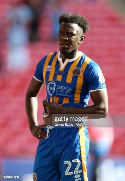 A dejected Aristote Nsiala of Shrewsbury Town at full time after the Sky Bet League One Play Off Final between Rotherham United and Shrewsbury Town...