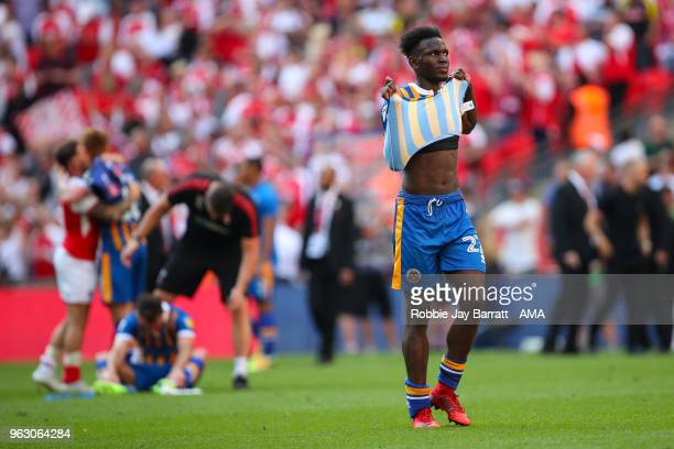 A dejected Aristote Nsiala of Shrewsbury Town during the Sky Bet League One Play Off Final between Rotherham United and Shrewsbury Town at Wembley...
