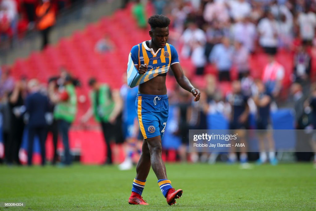 A dejected Aristote Nsiala of Shrewsbury Town during the Sky Bet League One Play Off Final between Rotherham United and Shrewsbury Town at Wembley Stadium on May 27, 2018 in London, England.