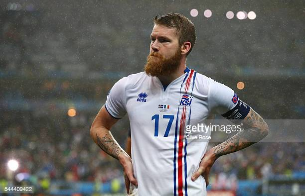 Dejected Aron Gunnarsson of Iceland is seen after the UEFA EURO 2016 quarter final match between France and Iceland at Stade de France on July 3 2016...