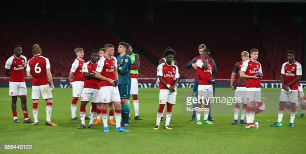 Dejected Arsenal Under 23s players After Premier League International Cup Final match between Arsenal Under 23 against Porto FC at Emirates stadium...