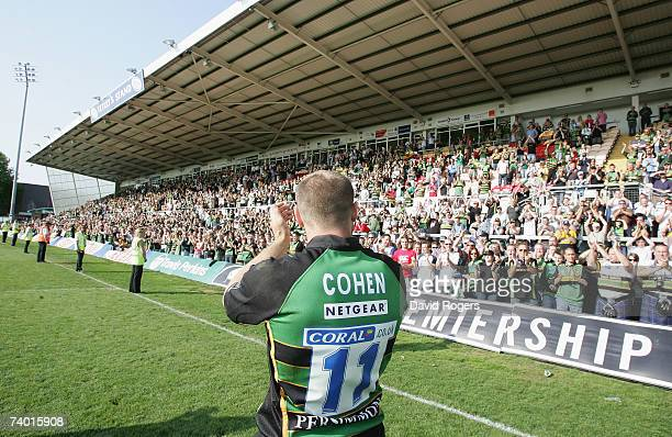 Dejected Ben Cohen of Northampton receives a standing ovation from the fans, after his team are relegated from the Guinness Premiership following the...