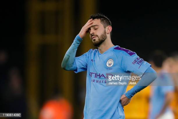 A dejected Bernardo Silva of Manchester City during the Premier League match between Wolverhampton Wanderers and Manchester City at Molineux on...