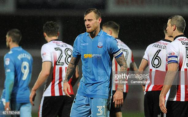 A dejected Bolton Wanderers' David Wheater at the final whistle during the Checkatrade Trophy Northern Group A match between Cheltenham Town and...