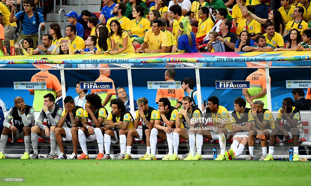 A dejected Brazil team looks on from the bench late in the match during the 2014 FIFA World Cup Brazil Third Place Playoff match between Brazil and the Netherlands at Estadio Nacional on July 12, 2014 in Brasilia, Brazil.