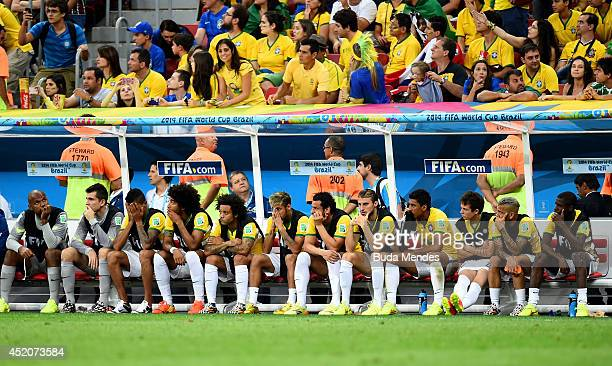 Dejected Brazil team looks on from the bench late in the match during the 2014 FIFA World Cup Brazil Third Place Playoff match between Brazil and the...