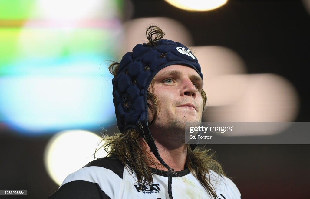 Dejected Bristol player Harry Thacker reacts during the Gallagher Premiership Rugby match between Gloucester Rugby and Bristol Bears at Kingsholm Stadium on September 14, 2018 in Gloucester, United Kingdom.