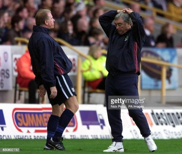Dejected Burnley Manager Stan Ternent coach Sam Ellis look away after missed chance during Nationwide Division One game at Molineux Wolverhampton...