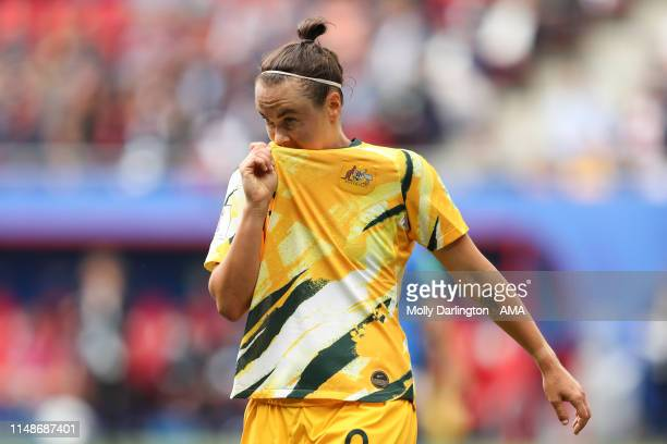 A dejected Caitlin Foord of Australia during the 2019 FIFA Women's World Cup France group C match between Australia and Italy at Stade du Hainaut on...