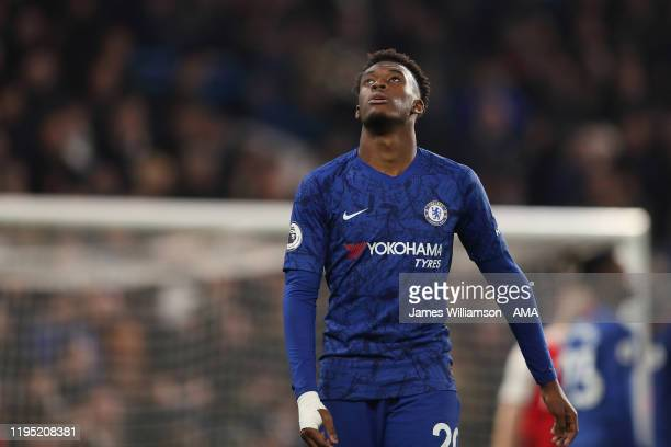 Dejected Callum Hudson-Odoi of Chelsea during the Premier League match between Chelsea FC and Arsenal FC at Stamford Bridge on January 21, 2020 in...