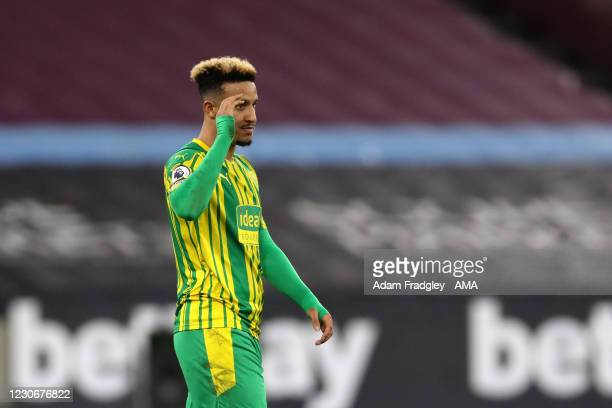 Dejected Callum Robinson of West Bromwich Albion reacts at the final whistle to the 2-1 defeat during the Premier League match between West Ham...
