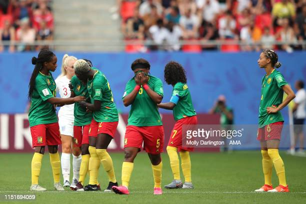 Dejected Cameroon players react after Ajara Nchout of Cameroon scores a goal to make it 2-1 which is ruled out via VAR during the 2019 FIFA Women's...