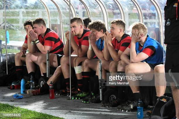 Dejected Canterbury players sit on the bench during the Jock Hobbs U19 Rugby Tournament on September 15 2018 in Taupo New Zealand