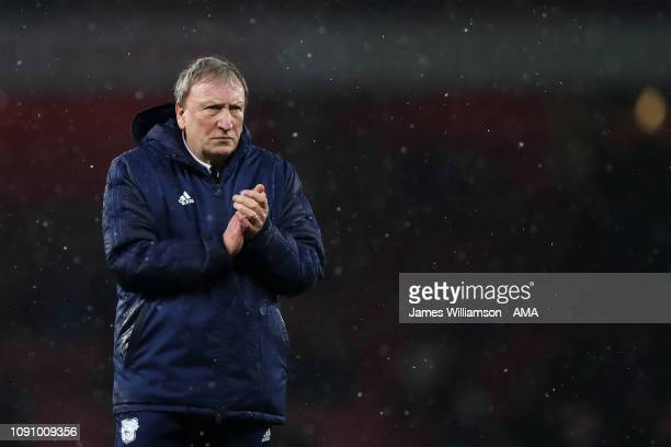 A dejected Cardiff City Manager Head Coach Neil Warnock at full time of the Premier League match between Arsenal FC and Cardiff City at Emirates...