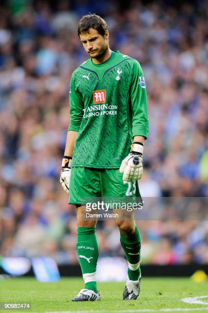 A dejected Carlo Cudicini the Spurs goalkeeper looks on after his team concede three goals during the Barclays Premier League match between Chelsea...