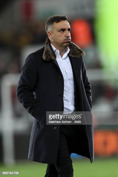A dejected Carlos Carvalhal head coach / manager of Swansea City at full time during the Premier League match between Swansea City and Southampton at...