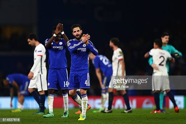 A dejected Cesc Fabregas of Chelsea applauds the home fans foloowing thjeir team's 21 defeat and exit from the competition during the UEFA Champions...