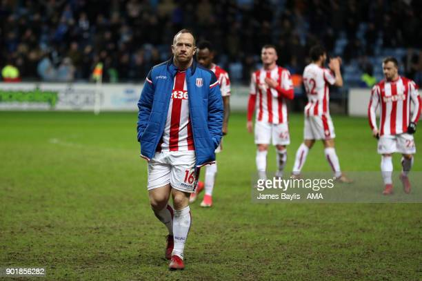 A dejected Charlie Adam of Stoke City after The Emirates FA Cup Third match between Coventry City and Stoke City at Ricoh Arena on January 6 2018 in...
