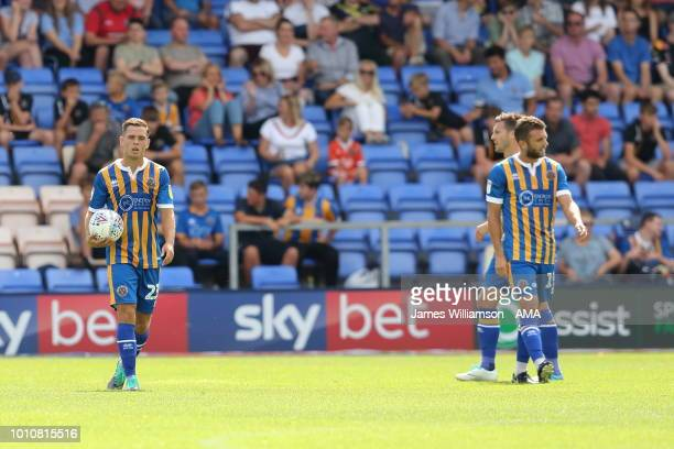 A dejected Charlie Colkett of Shrewsbury Town after Bradford scored a goal to make it 01 during the Sky Bet League One match between Shrewsbury Town...