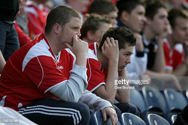 Dejected Charlton Athletic fans look on during the Barclays Premiership match between Blackburn Rovers and Charlton Athletic at Ewood Park on April...