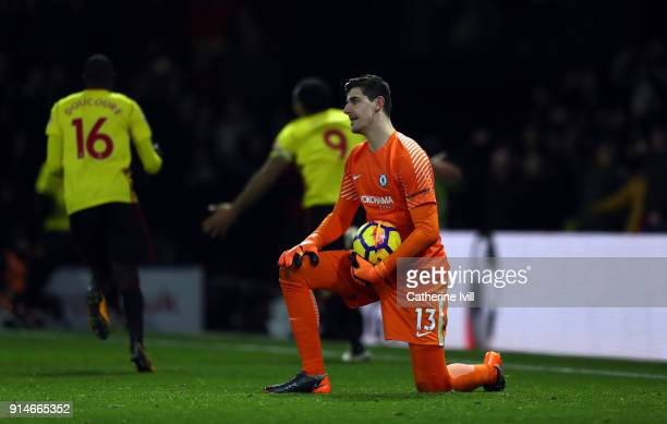 A dejected Chelsea goalkeeper Thibaut Courtois during the Premier League match between Watford and Chelsea at Vicarage Road on February 5 2018 in...