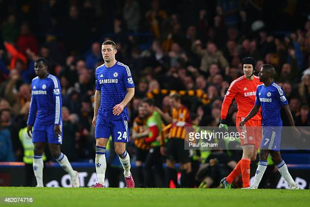 Dejected Chelsea layers look on after Bradford take a 32 lead during the FA Cup Fourth Round match between Chelsea and Bradford City at Stamford...