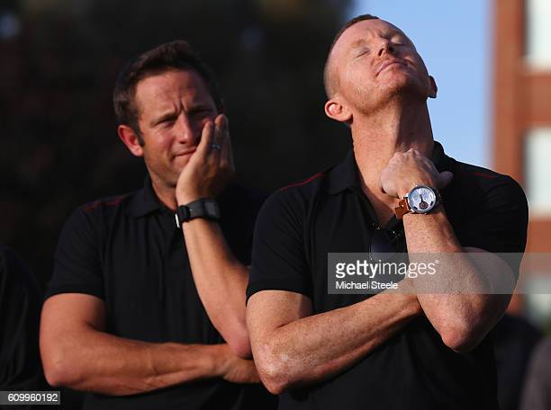 A dejected Chris Rogers the captain of Somerset alongside a tearful Roelof van der Merwe at a team presentation following the conclusion of the match...