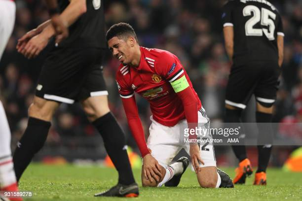 A dejected Chris Smalling of Manchester United after reacting to his header going wide during the UEFA Champions League Round of 16 Second Leg match...