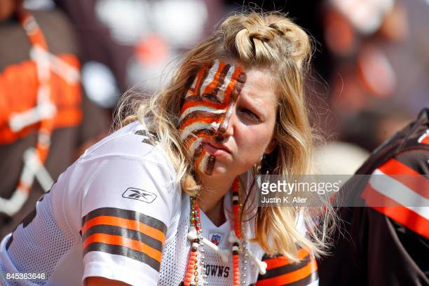 A dejected Cleveland Browns fan looks on against the Pittsburgh Steelers at FirstEnergy Stadium on September 10 2017 in Cleveland Ohio