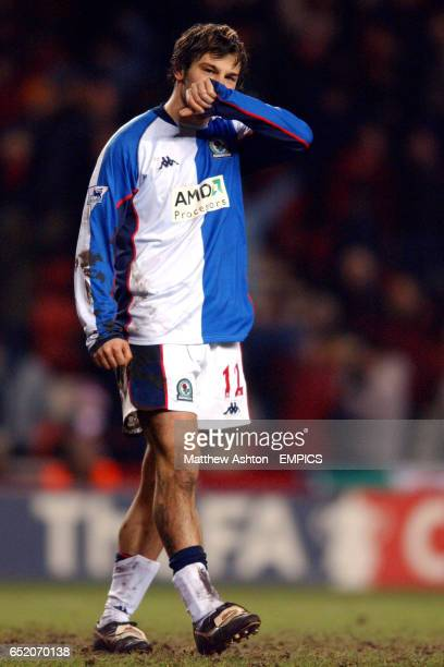 A dejected Corrado Grabbi of Blackburn Rovers after missing his penalty against Sunderland