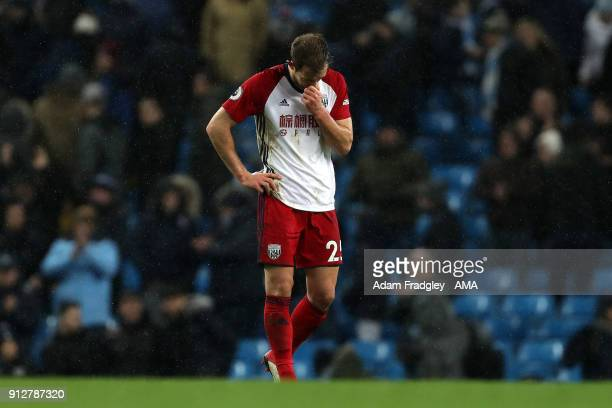 A dejected Craig Dawson of West Bromwich Albion at the final whistle during the Premier League match between Manchester City and West Bromwich Albion...