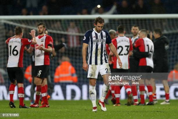 A dejected Craig Dawson of West Bromwich Albion at the final whistle during the Premier League match between West Bromwich Albion and Southampton at...