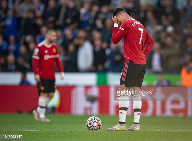 Dejected Cristiano Ronaldo of Manchester United during the Premier League match between Leicester City and Manchester United at The King Power...
