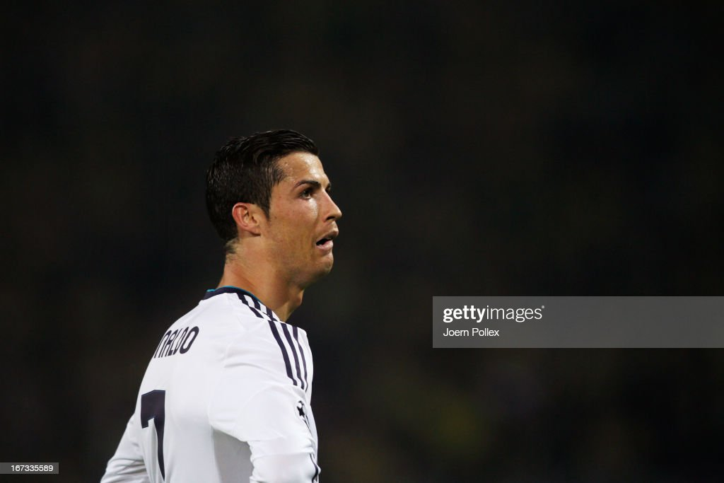 A dejected Cristiano Ronaldo of Real Madrid looks on during the UEFA Champions League semi final first leg match between Borussia Dortmund and Real Madrid at Signal Iduna Park on April 24, 2013 in Dortmund, Germany.