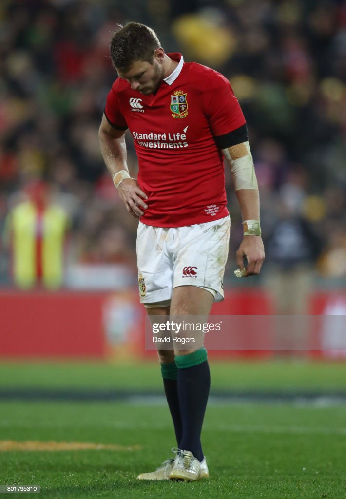 A dejected Dan Biggar of the Lions reacts after missing with a last gasp drop goal attempt to win the match during the 2017 British & Irish Lions tour match between the Hurricanes and the British & Irish Lions at the Westpac Stadium on June 27, 2017 in Wellington, New Zealand.