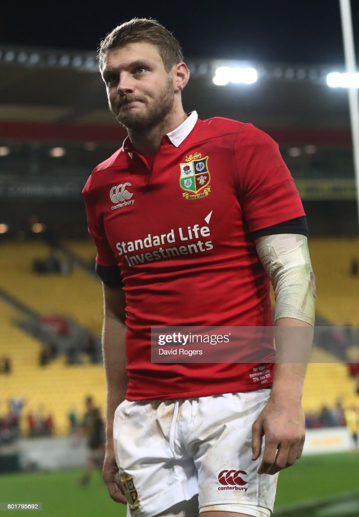 A dejected Dan Biggar of the Lions walks off the pitch after missing with a last gasp drop goal attempt to win the match during the 2017 British & Irish Lions tour match between the Hurricanes and the British & Irish Lions at the Westpac Stadium on June 27, 2017 in Wellington, New Zealand.