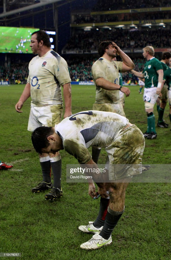 A dejected Danny Care of England and teammates react following their team's defeat during the RBS 6 Nations Championship match between Ireland and England at the Aviva Stadium on March 19, 2011 in Dublin, Ireland.